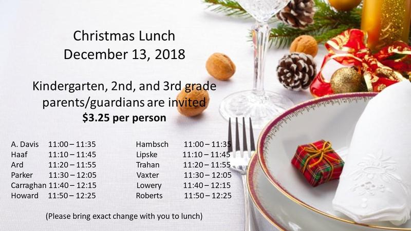 Christmas Lunch Schedule