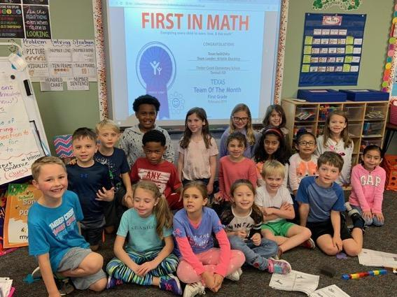 First in Math Texas Team of the Month!  Congratulations to Mrs. Shockley's class!