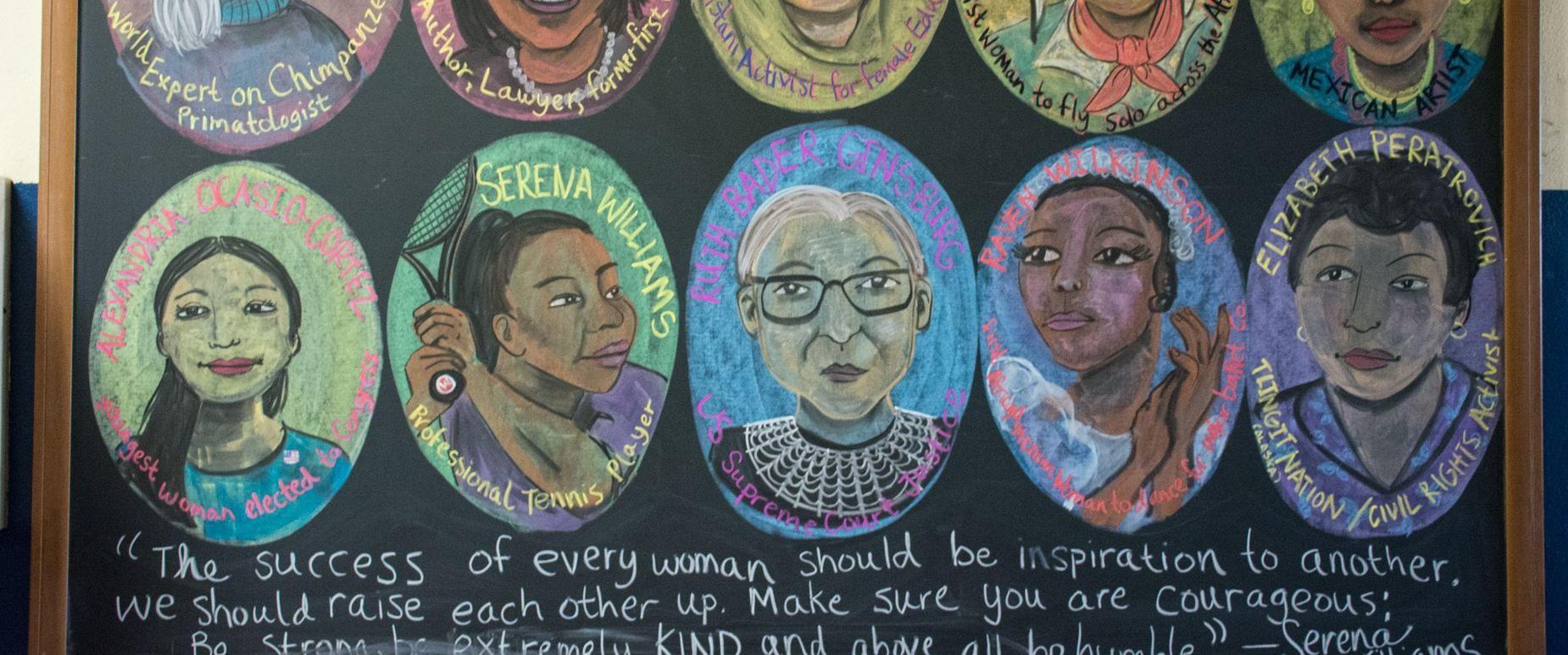 Women's History Month chalkboard