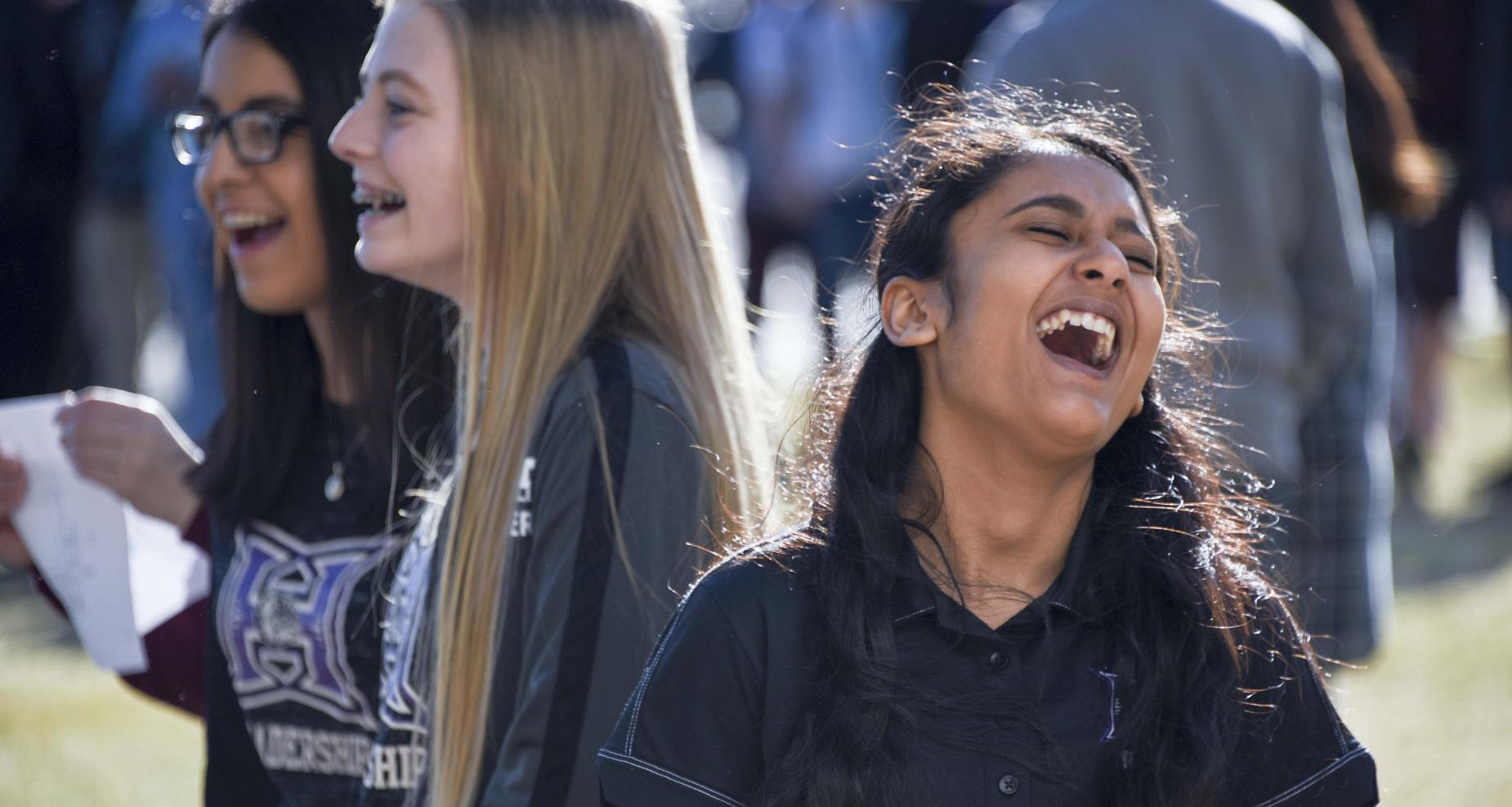 high school girls laughing