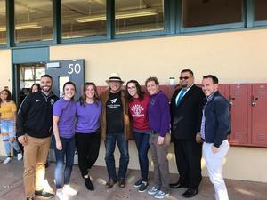 Del Mar High School staff with actor Edward James Olmos