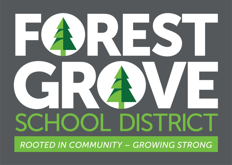 White and green Forest Grove School District logo with gray background