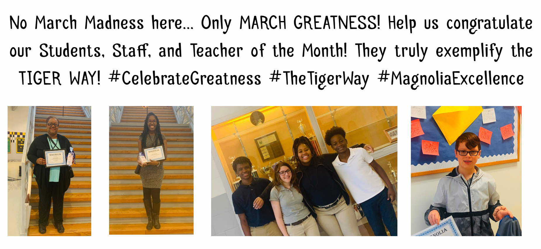 students and teachers of the month