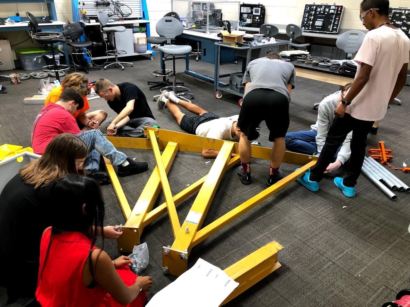 Building the gantry crane.