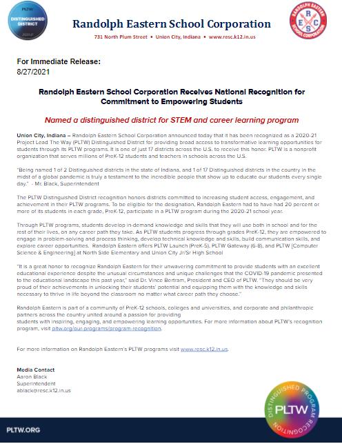 PLTW Press Release
