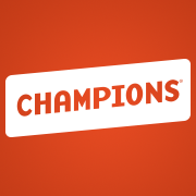 Orange background with CHAMPIONS wrote in capital letters.