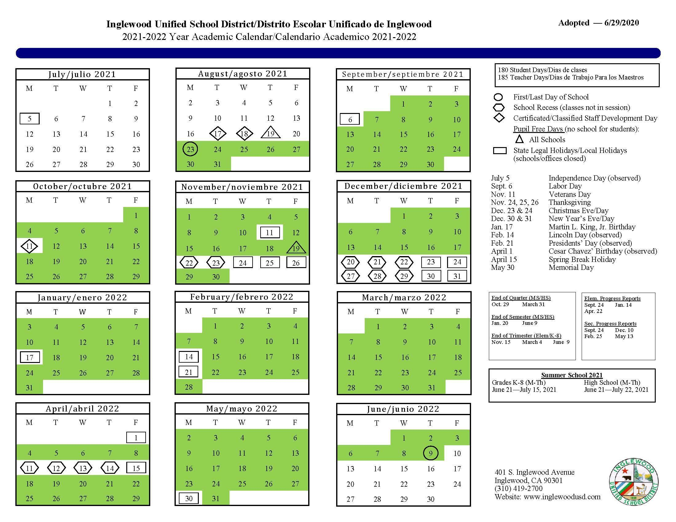 Lausd Calendar 2022.Calendar About Us Inglewood Unified School District
