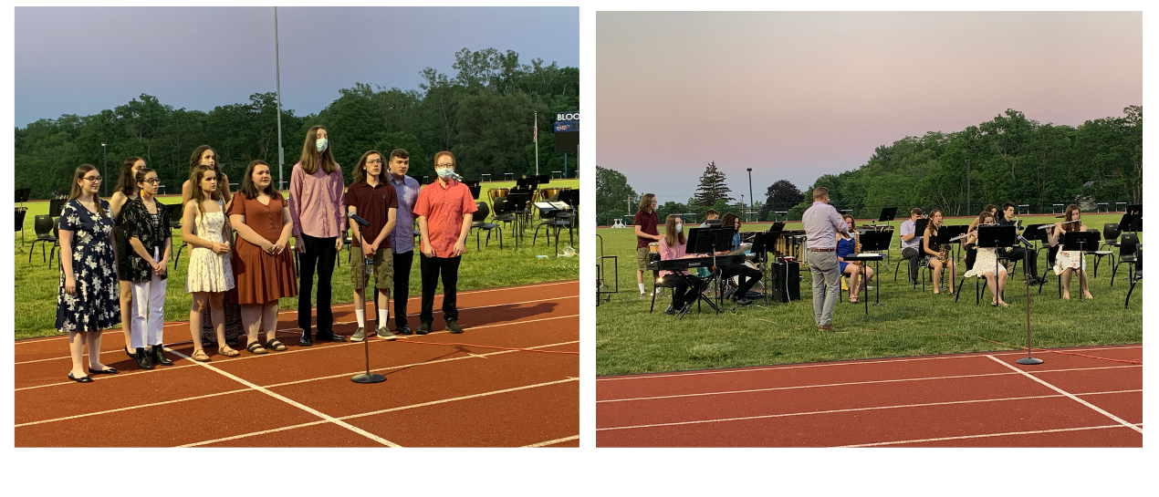 students in jazz band and jazz chorus performing outside