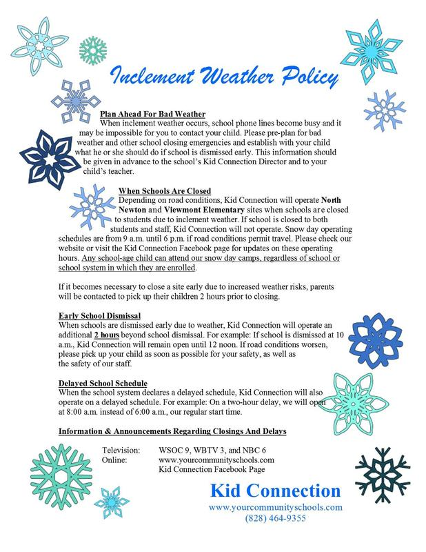 inclement weather flier