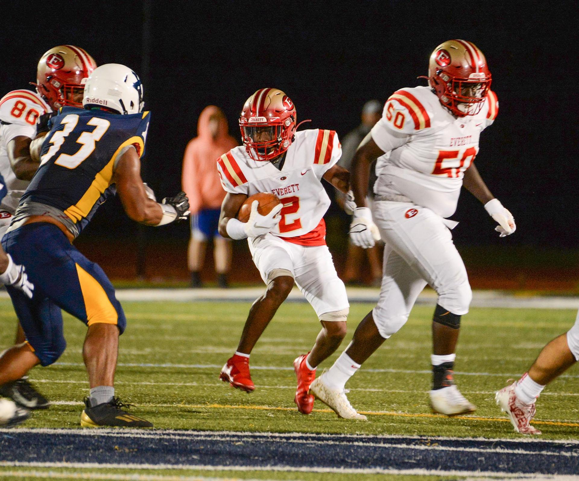 An EHS running back looks for running room as he approaches the line of scrimmage