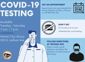 Infographic with COVID testing information.