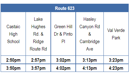 Route 623 Schedule