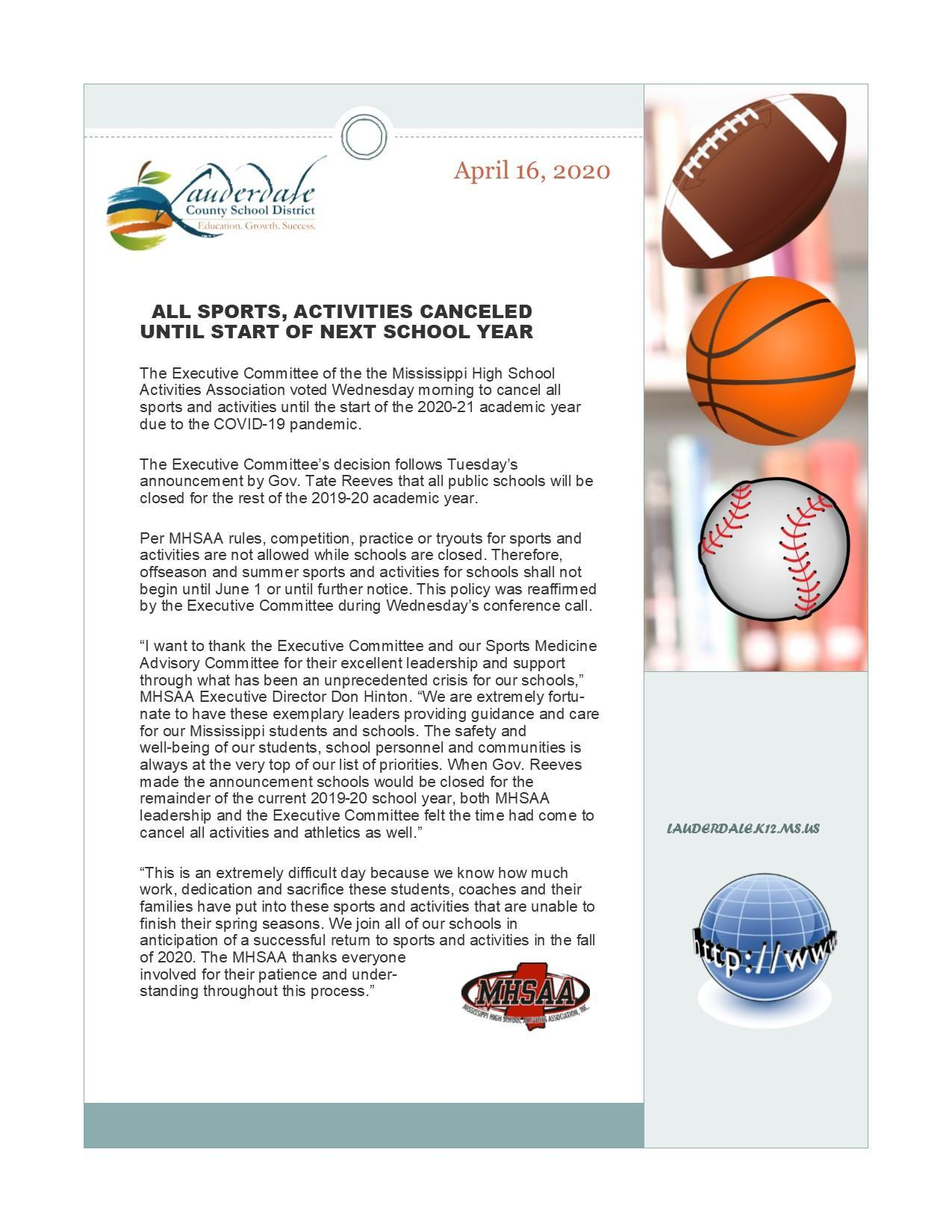 Mississippi High School Activities Association Press Release