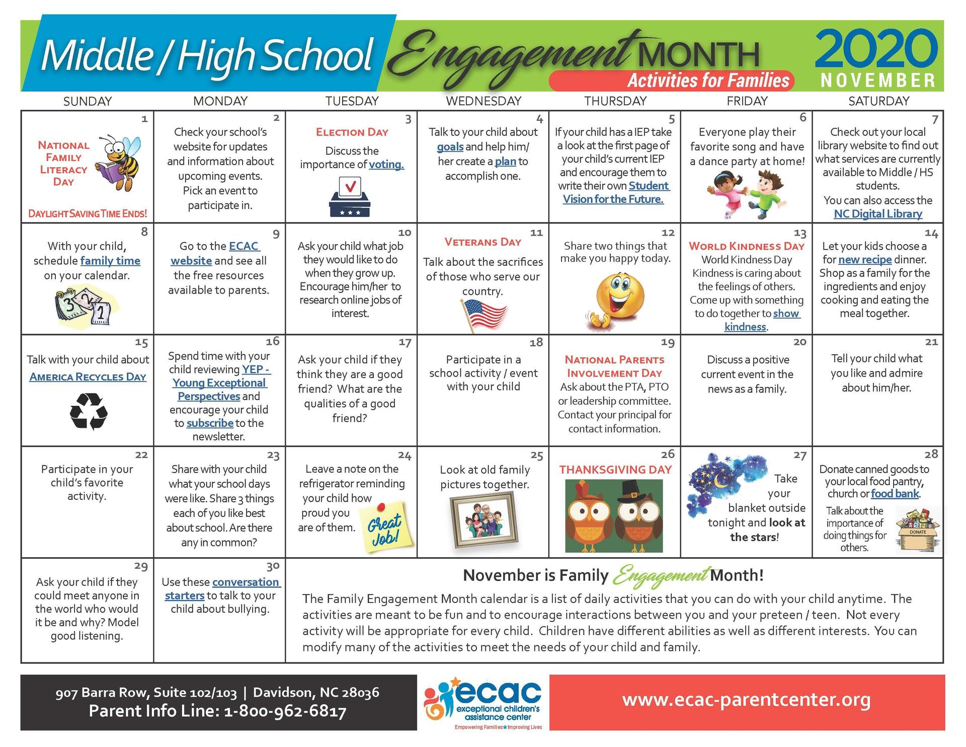 Middle/High - Family Engagement Calendar