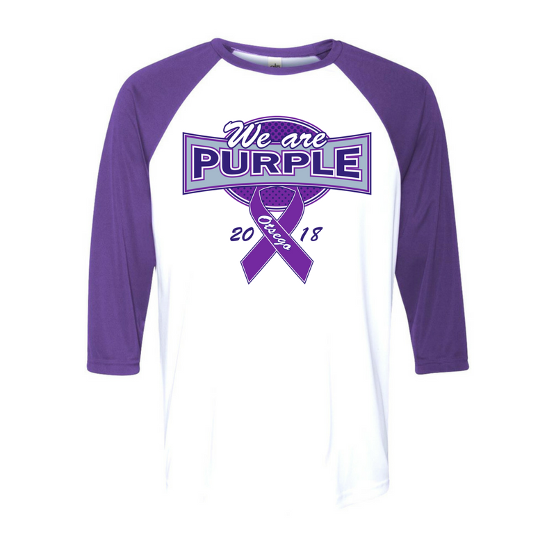 Example of the purple game event t-shirt that says 'we are purple' on the front.