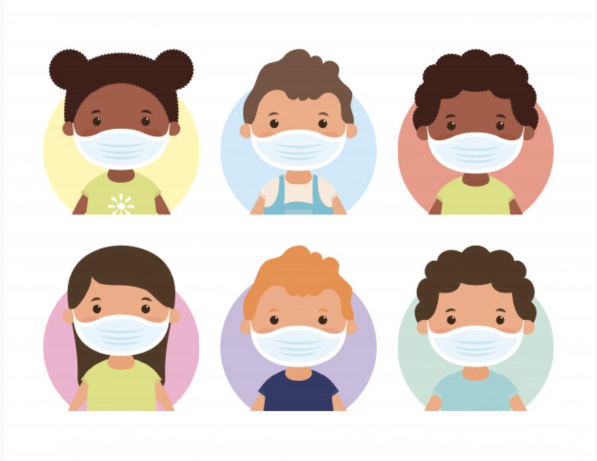 Six students wearing mask..