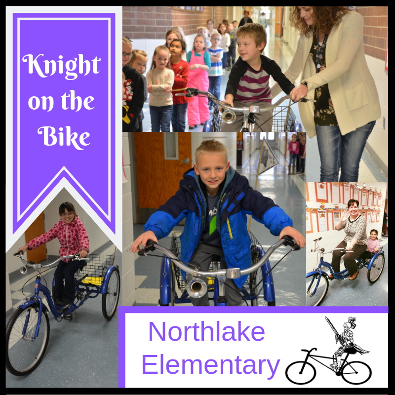 Knight on the bike- Northlake Elementary continues innovative rewards program for progressing student readers Thumbnail Image
