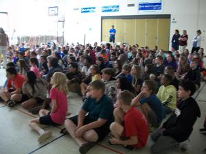 Students attend EOG pep rally.
