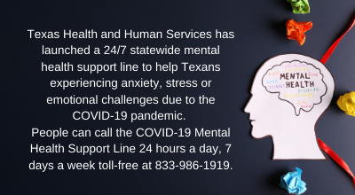 TX Health and Human Services Covid-19 Mental Health Support Line Featured Photo