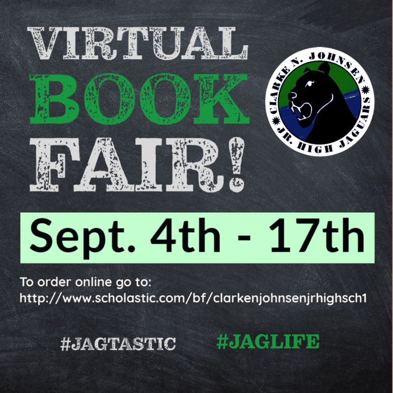 Online book fair Sept. 4-17th. To order go to: http://www.scholastic.com/bf/clarkenjohnsenjrhighsch1