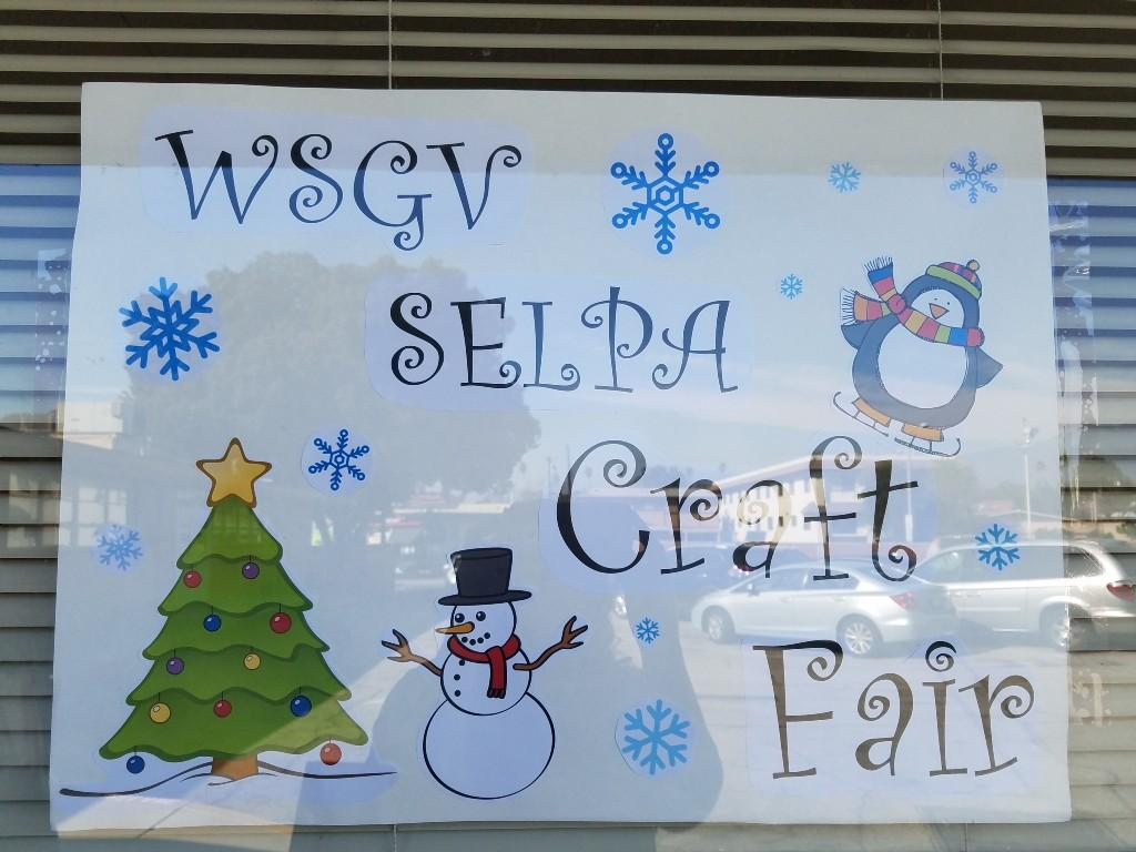 """Sign in window that says """"WSGV SELPA Craft Fair""""."""