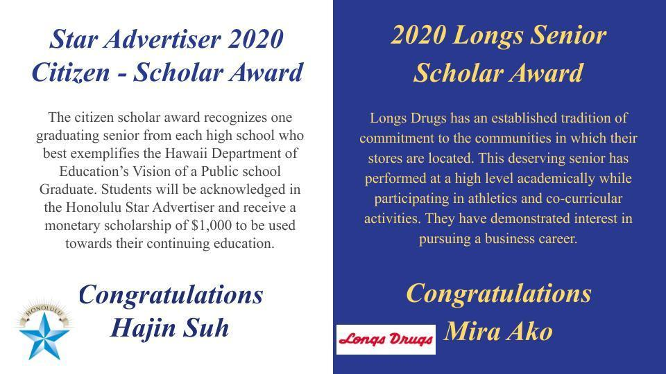 Star Advertiser and Longs Scholar awards