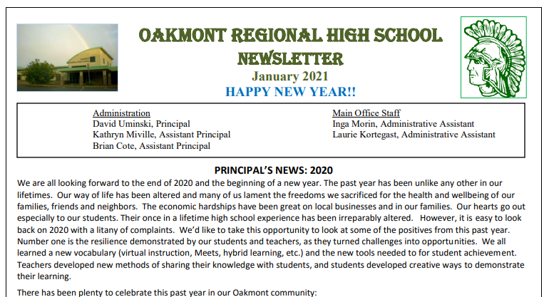 Oakmont Newsletter January 2021 Featured Photo