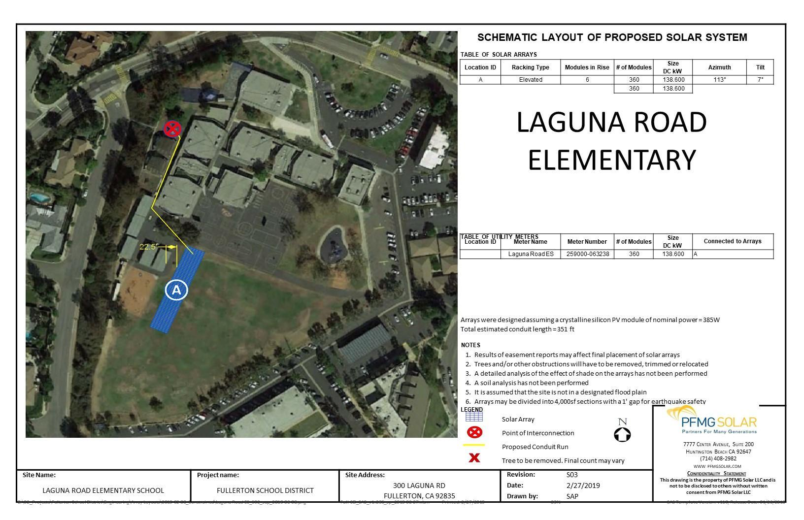 Laguna Road Elementary Schematic Layout of Proposed Solar System
