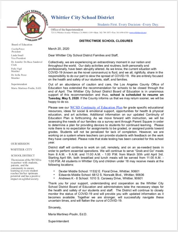 #5 Notice of District School Dismissal - Aviso de despido escolar del distrito PDF Link