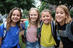 Four McKinley School students pose for a picture during first week of school.