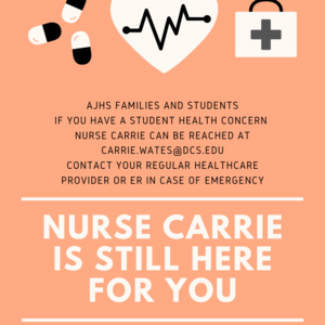 Contact Carrie.Wates@dcs.edu with student health concerns. In an emergency please contact your local provider or ER.