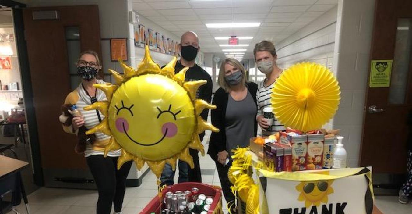 Teachers got a Sunshine Cart surprise to brighten their day.