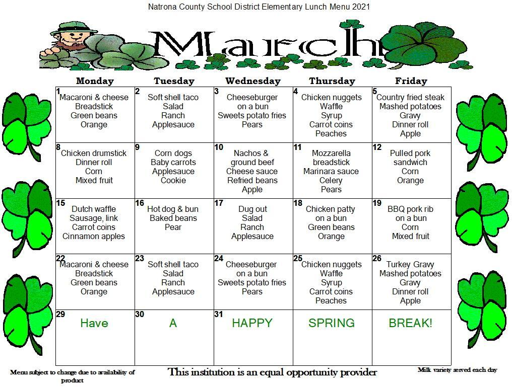 March Elementary Lunch Menu
