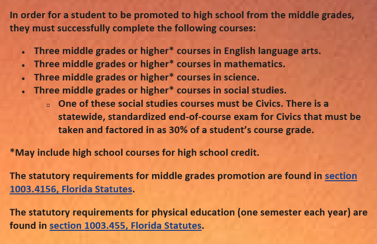Middle Grades Promotion Requirements  In order for a student to be promoted to high school from the middle grades, they must successfully complete the following courses:  •	Three middle grades or higher* courses in English language arts.  •	Three middle grades or higher* courses in mathematics.  •	Three middle grades or higher* courses in science.  •	Three middle grades or higher* courses in social studies.  o	One of these social studies courses must be Civics. There is a statewide, standardized end-of-course exam for Civics that must be taken and factored in as 30% of a student's course grade.  *May include high school courses for high school credit.  The statutory requirements for middle grades promotion are found in section 1003.4156, Florida Statutes.  The statutory requirements for ph