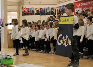 "Kindergartners at Lincoln School in Westfield take the stage to perform show tunes from popular Broadway productions including ""Annie,"" ""Guys and Dolls,"" ""Matilda,"" ""Seussical"" and ""The Sound of Music."""