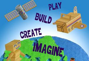 create, imagine, cardboard graphic
