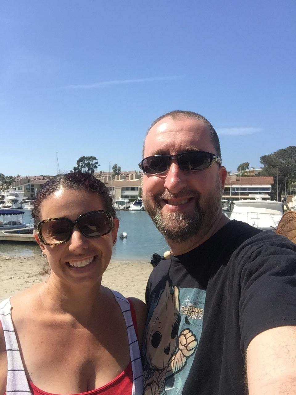 Mr. Barr and his wife selfie at the beach.