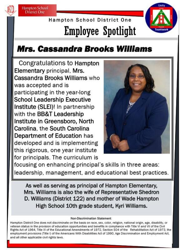 Employee Spotlight - Mrs. Cassandra Williams