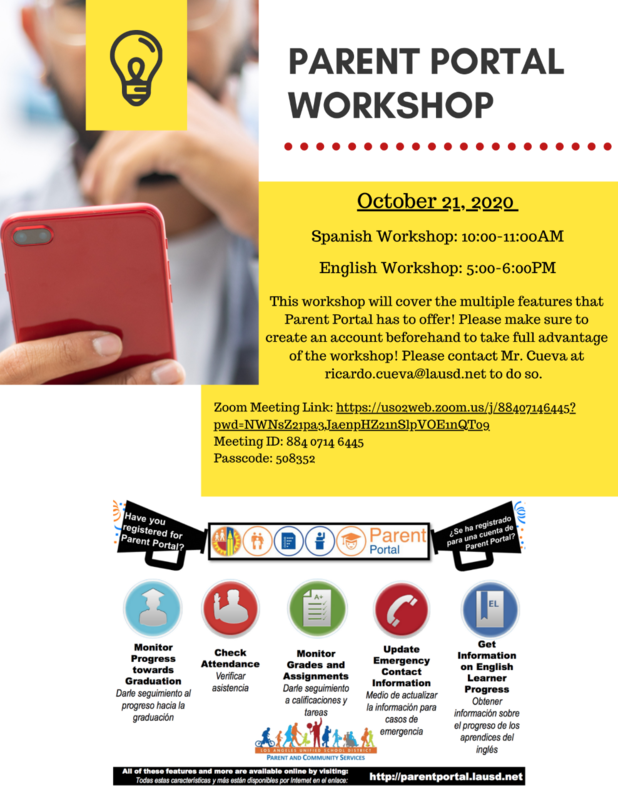 Virtual Parent Portal Workshop #3 Wednesday Oct 21 Featured Photo