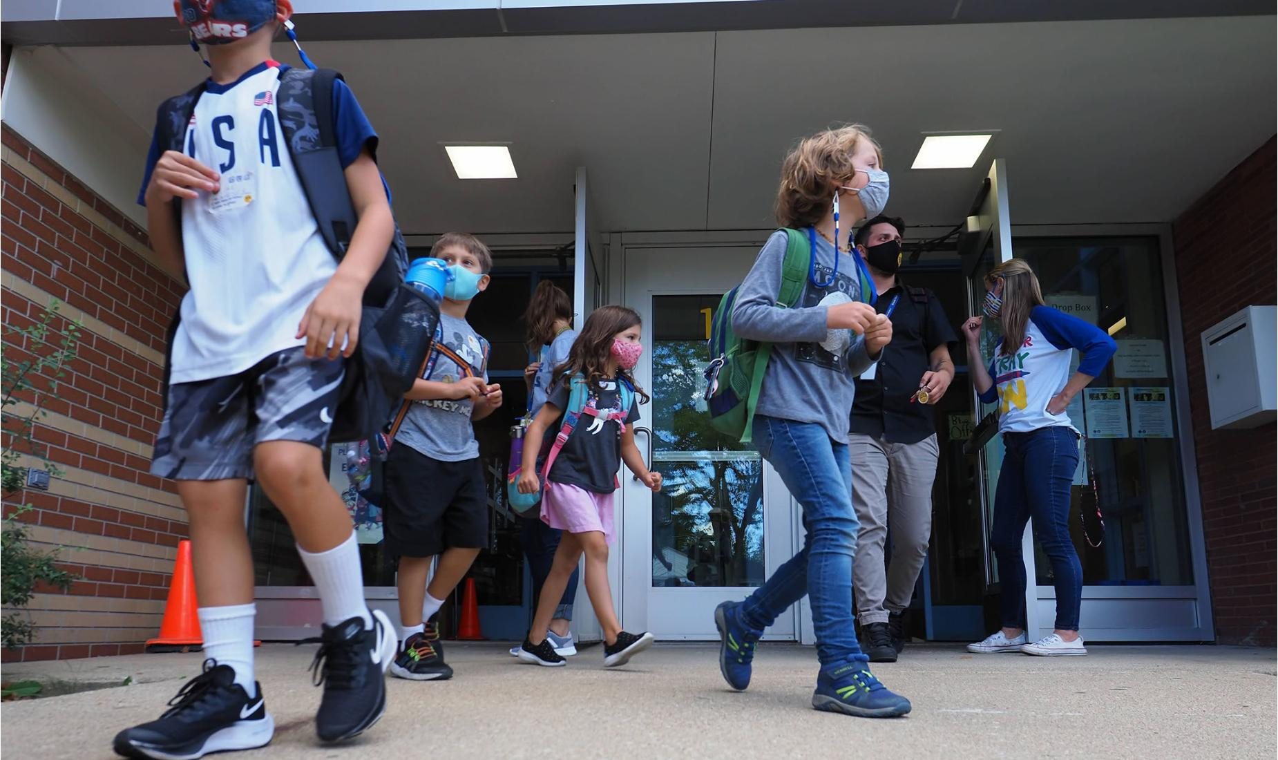 Students leaving at dismissal