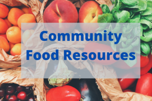Image that reads Community Food Resources which announces a food resource article for SLV students