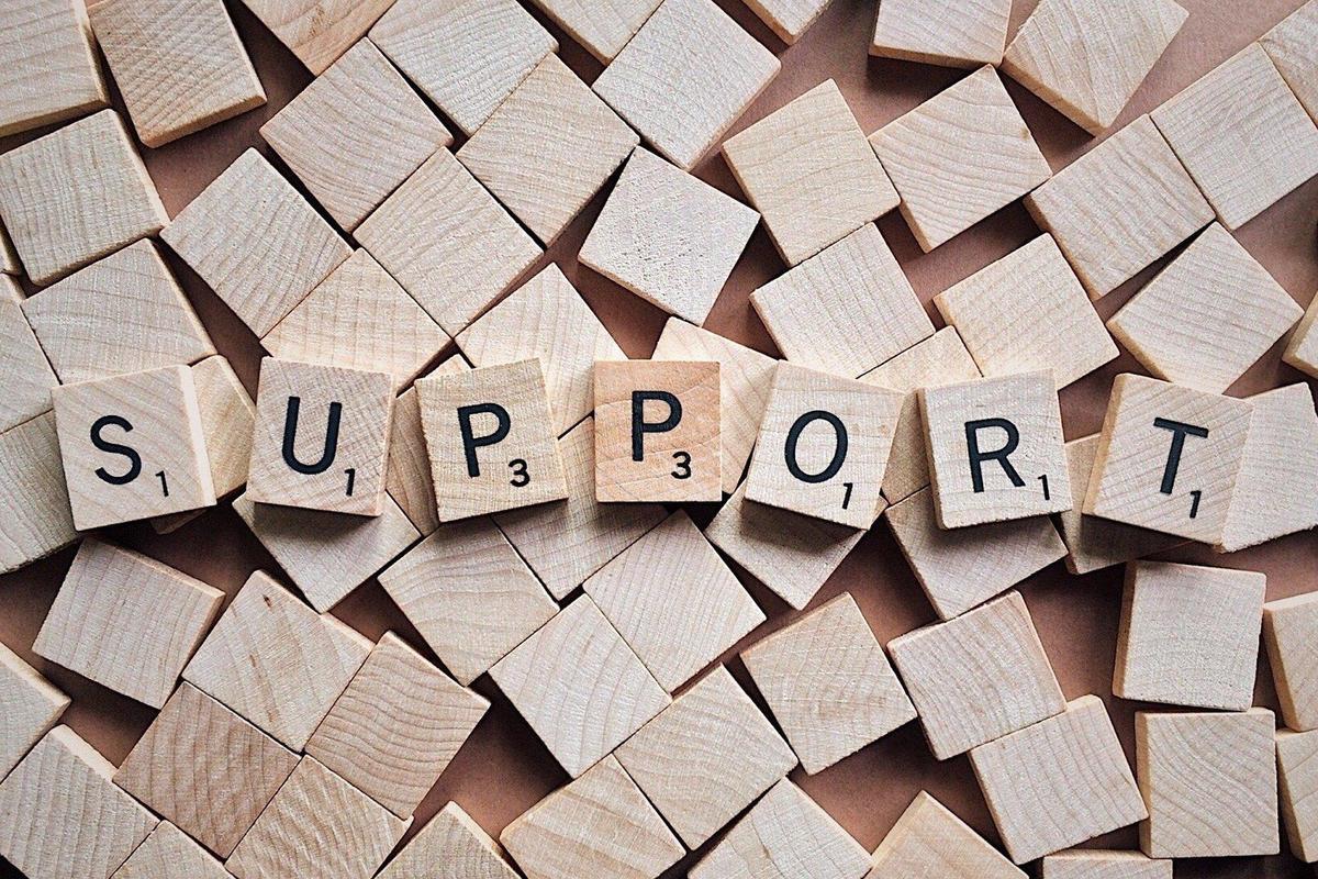 Support spelled in tiles