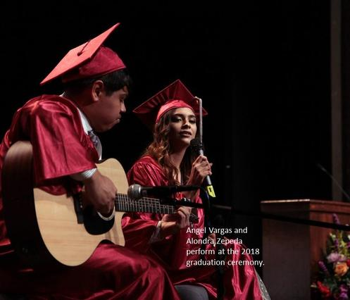 Angel Vargas and Alondra Zepeda perform at commencement.