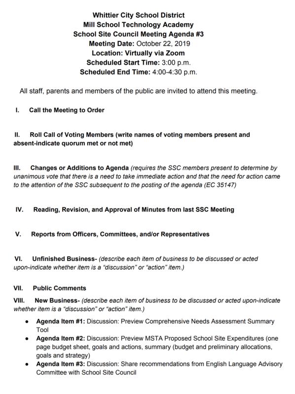 School Site Council Agenda English
