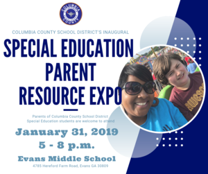 Special Education Parent Resource Expo to be held January 31, 2019 from 5 - 8 p.m. at Evans Middle School