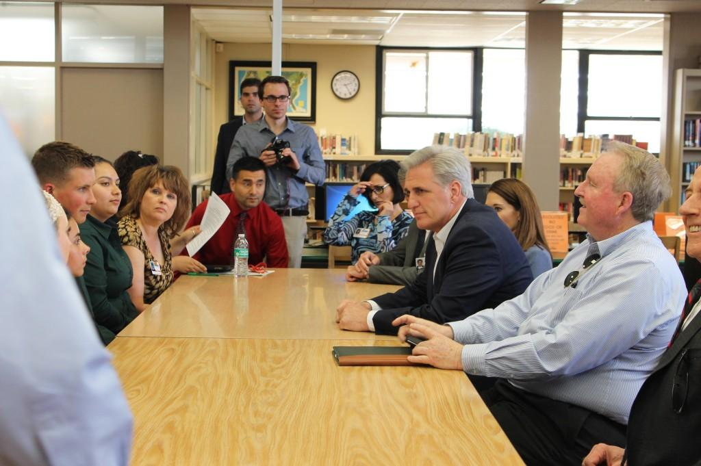 Senator Kevin McCarthy meets with Pathway students in the Library Media Center.
