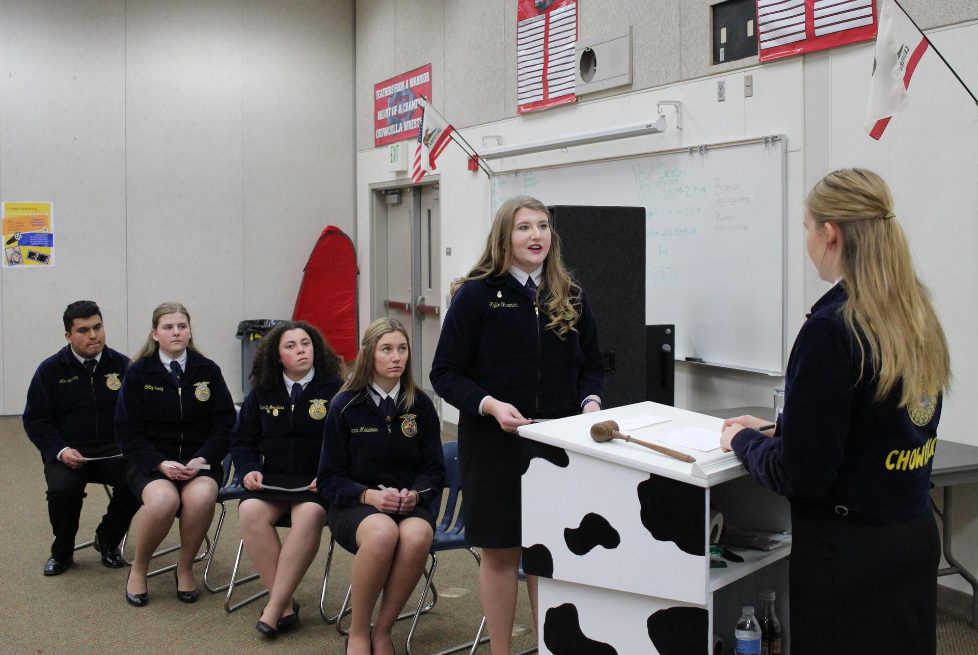 Alan Martinez, Colby Deniz, Beverly Goncalves, Joye Hughes, Kylie Farmer, and Zoe Bitter during first Parliamentary Procedure demonstration