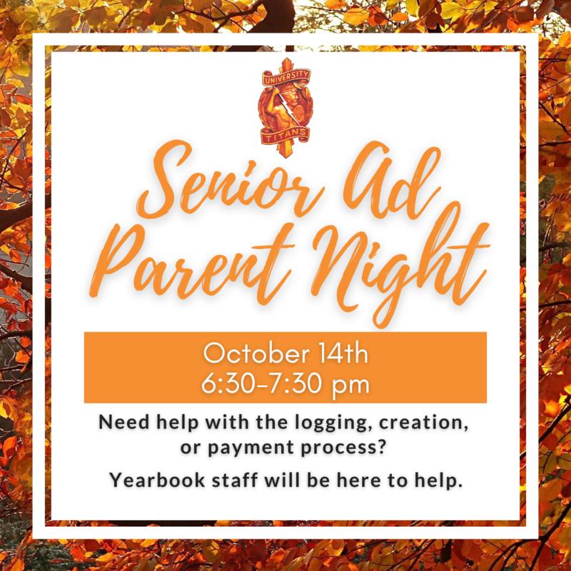 Senior Ad Parent Night information