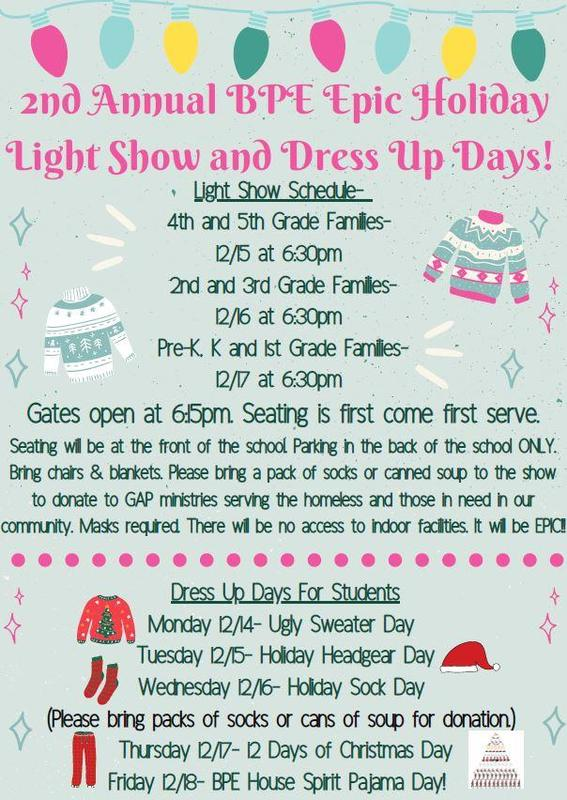 BPE Epic Light Show and Student Dress Up Days! Featured Photo