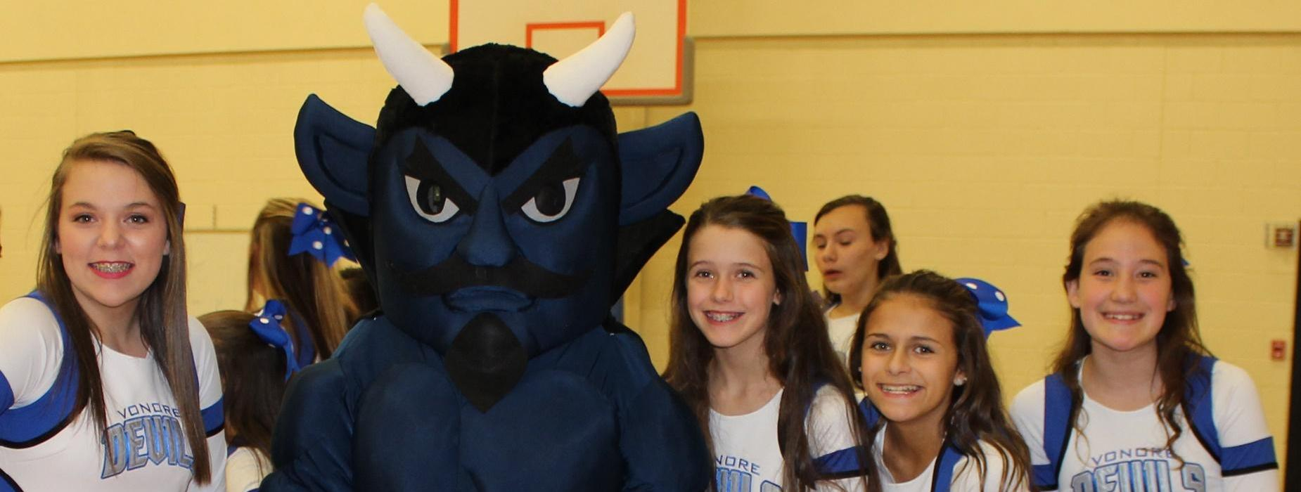 VMS Cheerleaders and devil mascot
